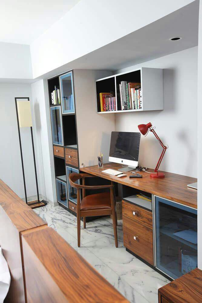 Wooden Study Table In Bedroom by DD Jour Bedroom Modern | Interior Design Photos & Ideas