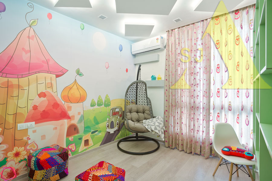 Whimsical Wall by Suman Bedroom Contemporary | Interior Design Photos & Ideas