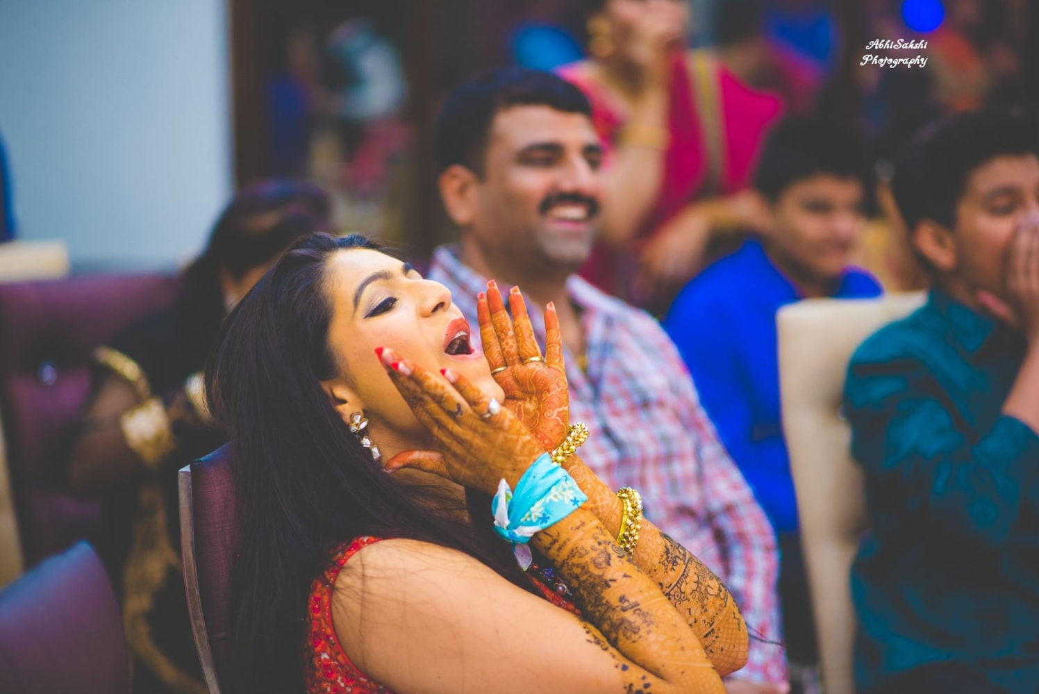 Candid Shot of Elated Bride by AbhiSakshi Photography Wedding-photography | Weddings Photos & Ideas