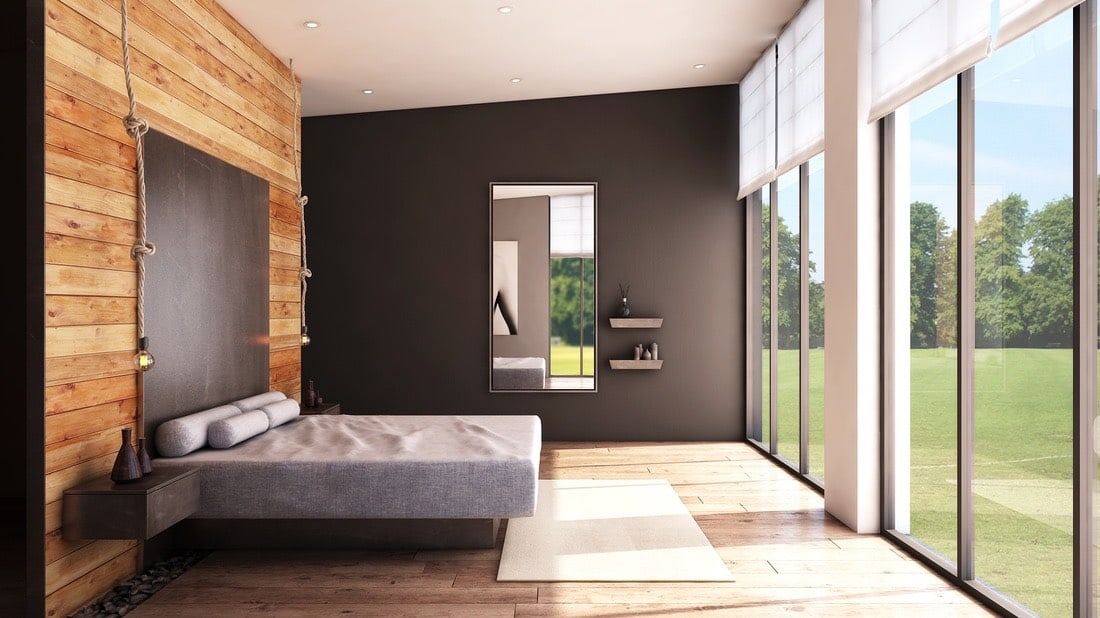 Grey Cushioned Low Rise Bed by Gaurav Bhadana Bedroom Contemporary | Interior Design Photos & Ideas