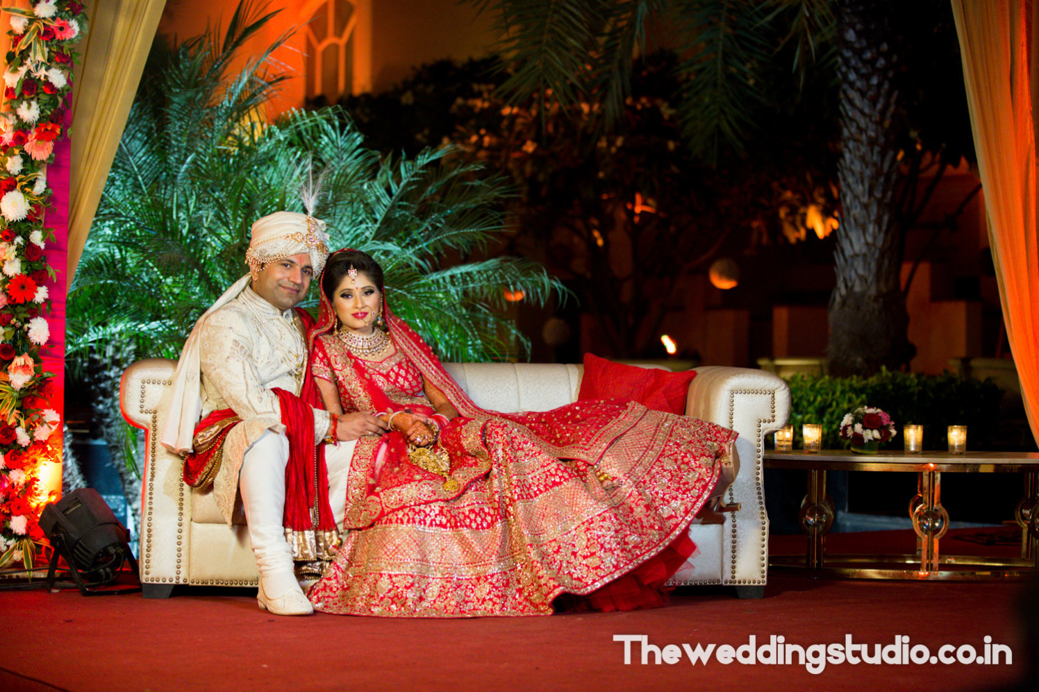 Bride and Groom Wearing Elegant Red Themed Traditional Wear by Sanjay Balyan Wedding-photography Groom-wear-and-accessories Wedding-dresses | Weddings Photos & Ideas