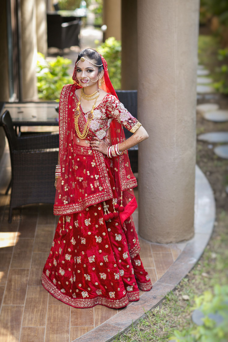 Bride Wearing Crimson Shaded Bridal Lehnega by Niranjan Patwardhan Wedding-dresses | Weddings Photos & Ideas