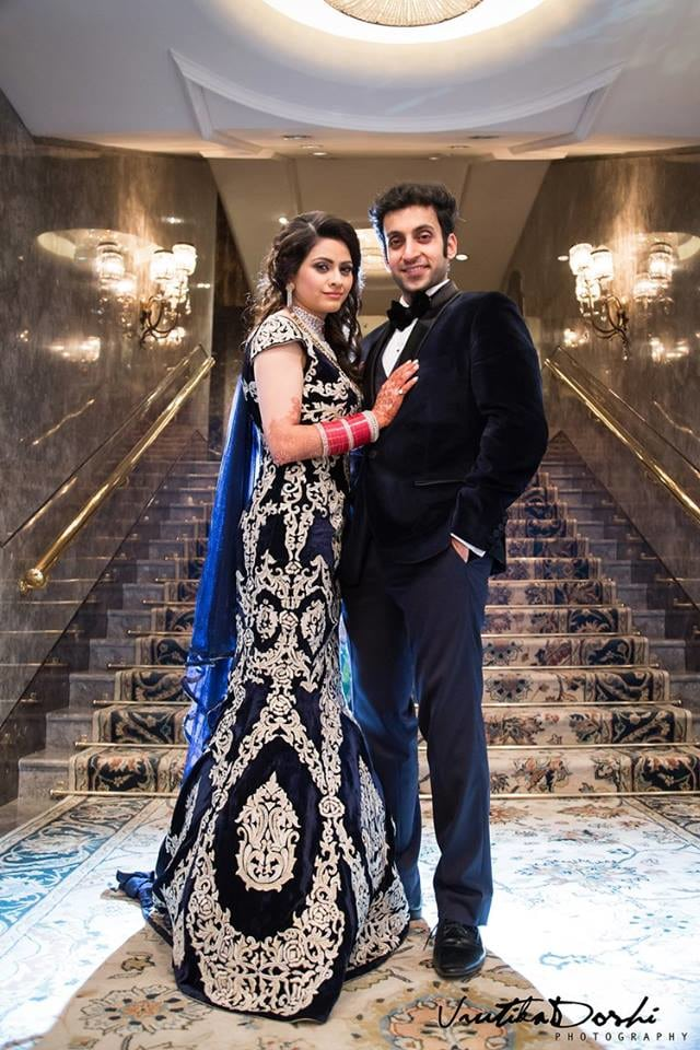 Midnight Blue Bridal Gown With Gold Embroidery For The Bride by Vrutika Doshi Wedding-photography Groom-wear-and-accessories Wedding-dresses | Weddings Photos & Ideas