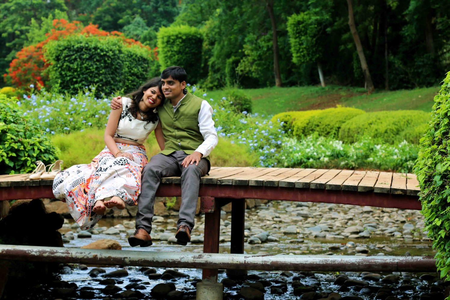 Picturesque Garden Backdrop For Photoshoot of Bride and Groom To-Be by Rushil Jadhav Wedding-photography | Weddings Photos & Ideas