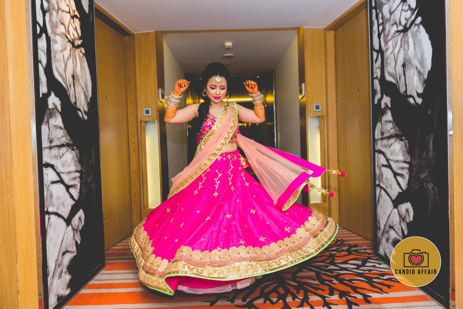 Magenta Lehenga With Light Pink Drape by Candid Affair Wedding-photography Wedding-dresses | Weddings Photos & Ideas
