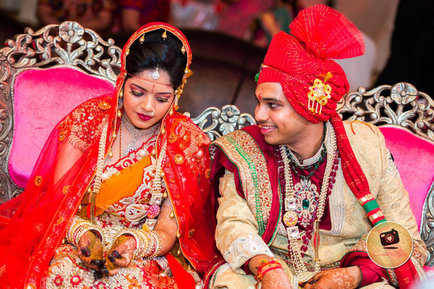 Bride And Groom Wedding Looks by Candid Affair Wedding-photography Groom-wear-and-accessories Bridal-jewellery-and-accessories Bridal-makeup | Weddings Photos & Ideas