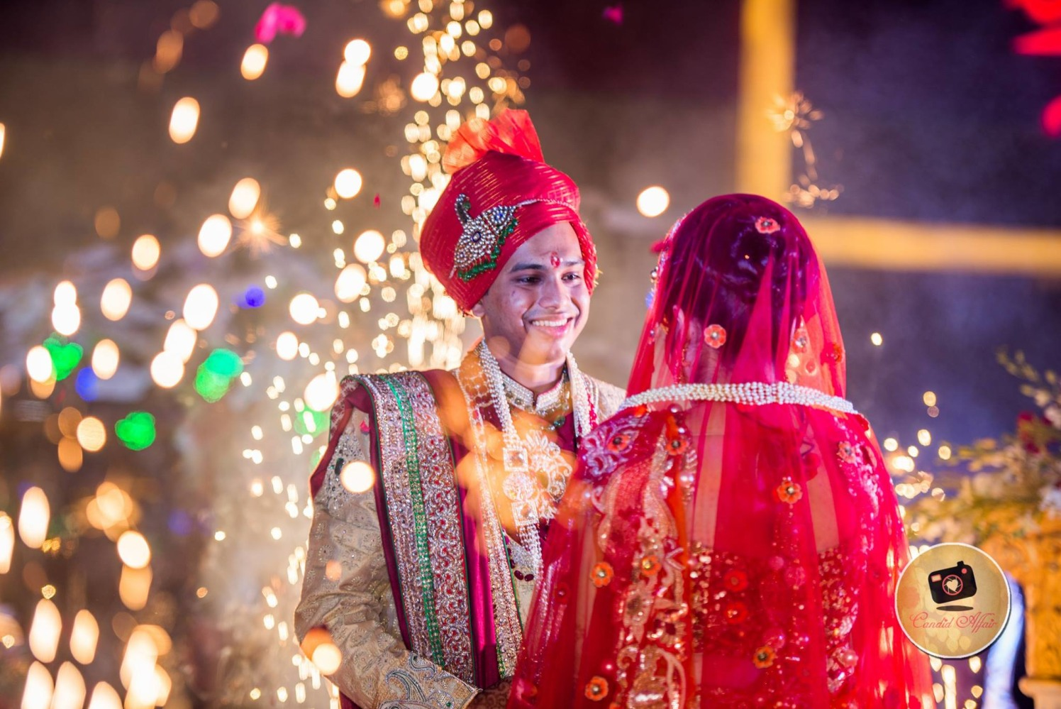 Sparkling Tones Around Bride And Groom by Candid Affair Wedding-photography Groom-wear-and-accessories | Weddings Photos & Ideas