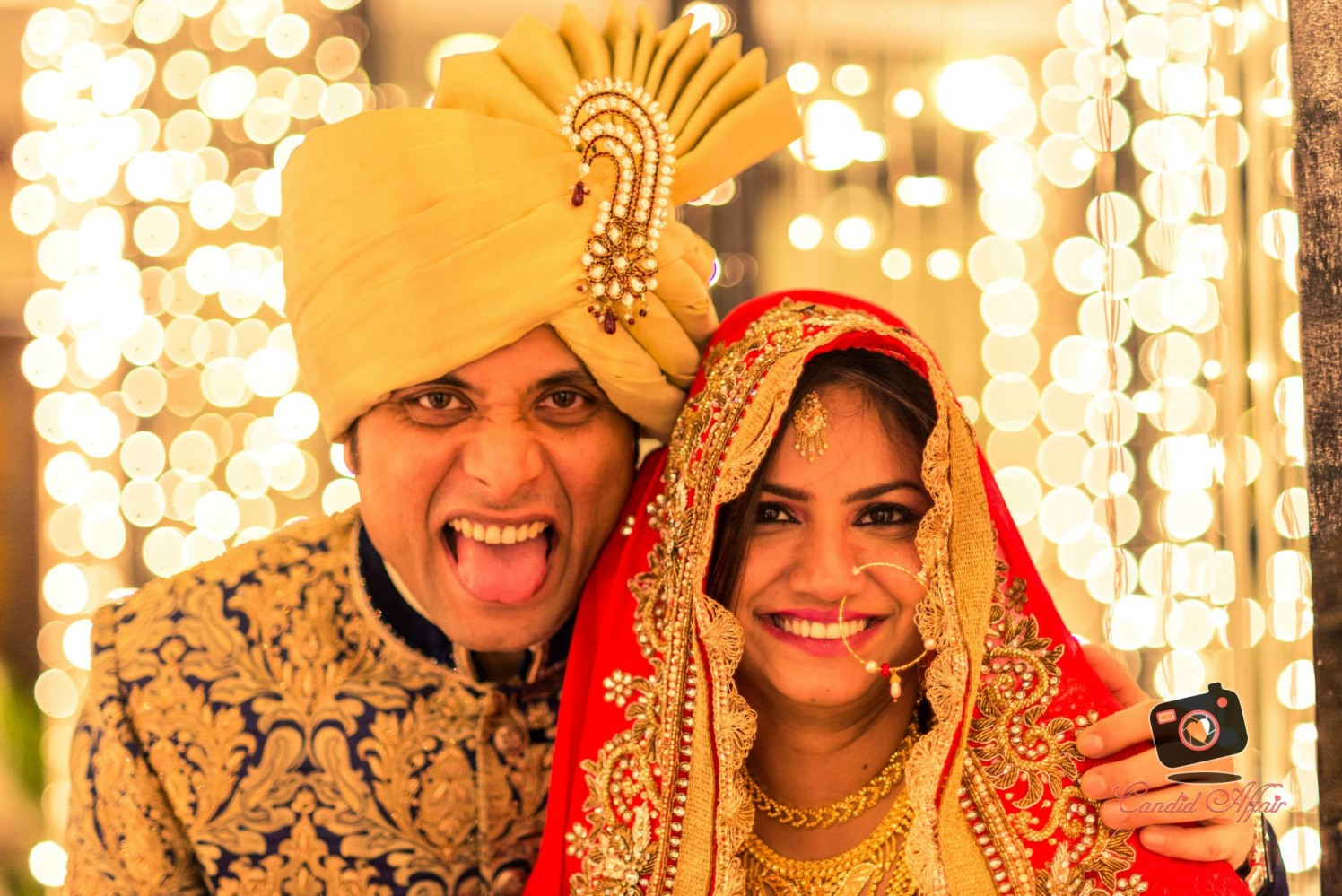 Quirky Bride And Groom Wedding Day Portrait by Candid Affair Wedding-photography Groom-wear-and-accessories Bridal-jewellery-and-accessories Bridal-makeup | Weddings Photos & Ideas