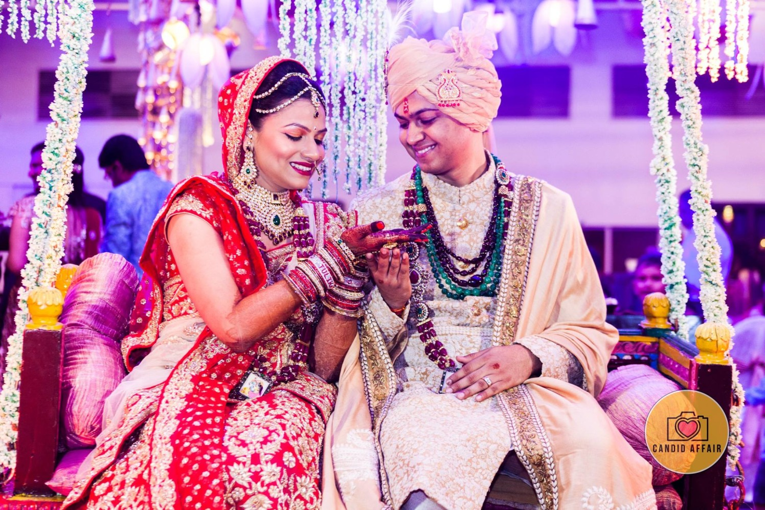 Bride And Groom Complimenting Each Other by Candid Affair Wedding-photography Bridal-jewellery-and-accessories Groom-wear-and-accessories | Weddings Photos & Ideas