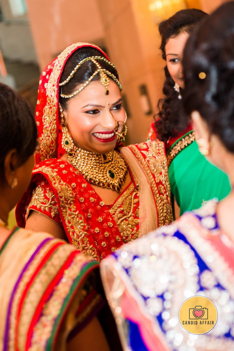 Bridal Smiling Face by Candid Affair Wedding-photography Bridal-jewellery-and-accessories Bridal-makeup | Weddings Photos & Ideas