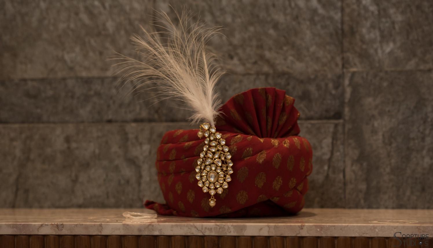 Red Turban With Golden Work And Kundan Kilangi Brooch by Sahil Kumar Wedding-photography | Weddings Photos & Ideas