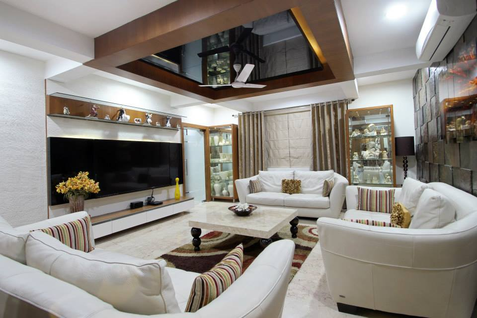 Living Room With White Loveseat Sofa And Wooden False ...