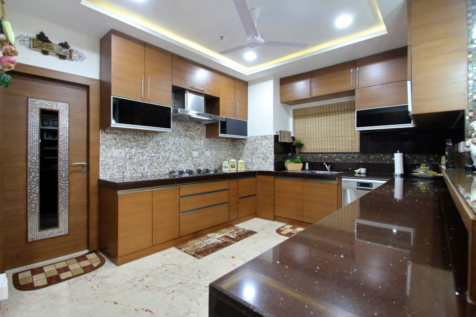 U Shaped Kitchen With Woden Cabinets By Ramana Rao P V