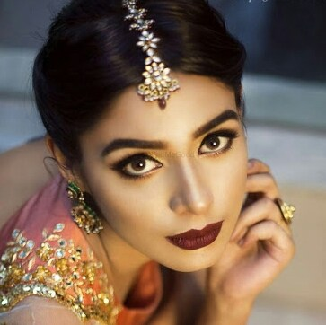 Double thumbs up to deep wine lips by Harleen Kaur Bridal-makeup | Weddings Photos & Ideas