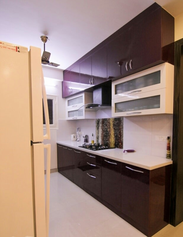 Tyrian Purple And Cream Shaded Modular Kitchen by Shyam Kumar M  Modular-kitchen Modern | Interior Design Photos & Ideas