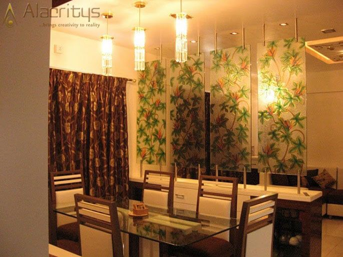Dining Space with Floral Designed Glass Panels by Trupti Ladda Dining-room Contemporary | Interior Design Photos & Ideas