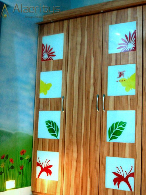 Wooden Closet for Kids with Floral Designs by Trupti Ladda Bedroom Modern | Interior Design Photos & Ideas