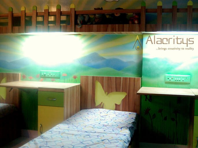 Kids Bedroom with Colorful Wall and Single bed With Wood Finish by Trupti Ladda Bedroom Modern | Interior Design Photos & Ideas