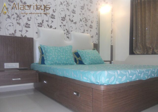 Queen Size Bed with Built in Wooden cabinets and Floral Designed Wall by Trupti Ladda Bedroom Minimalistic | Interior Design Photos & Ideas