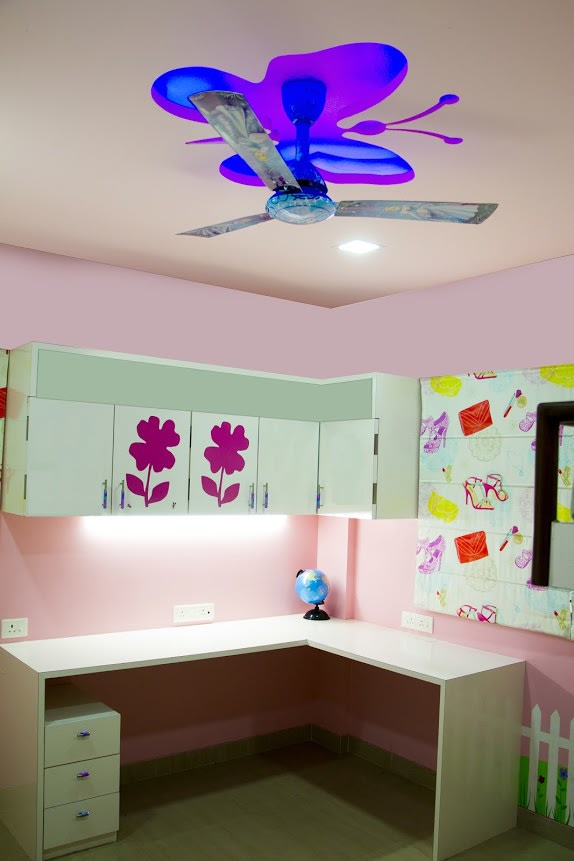 Kids bedroom with White Wooden Study Table and Pink Walls by Trupti Ladda Bedroom Modern | Interior Design Photos & Ideas