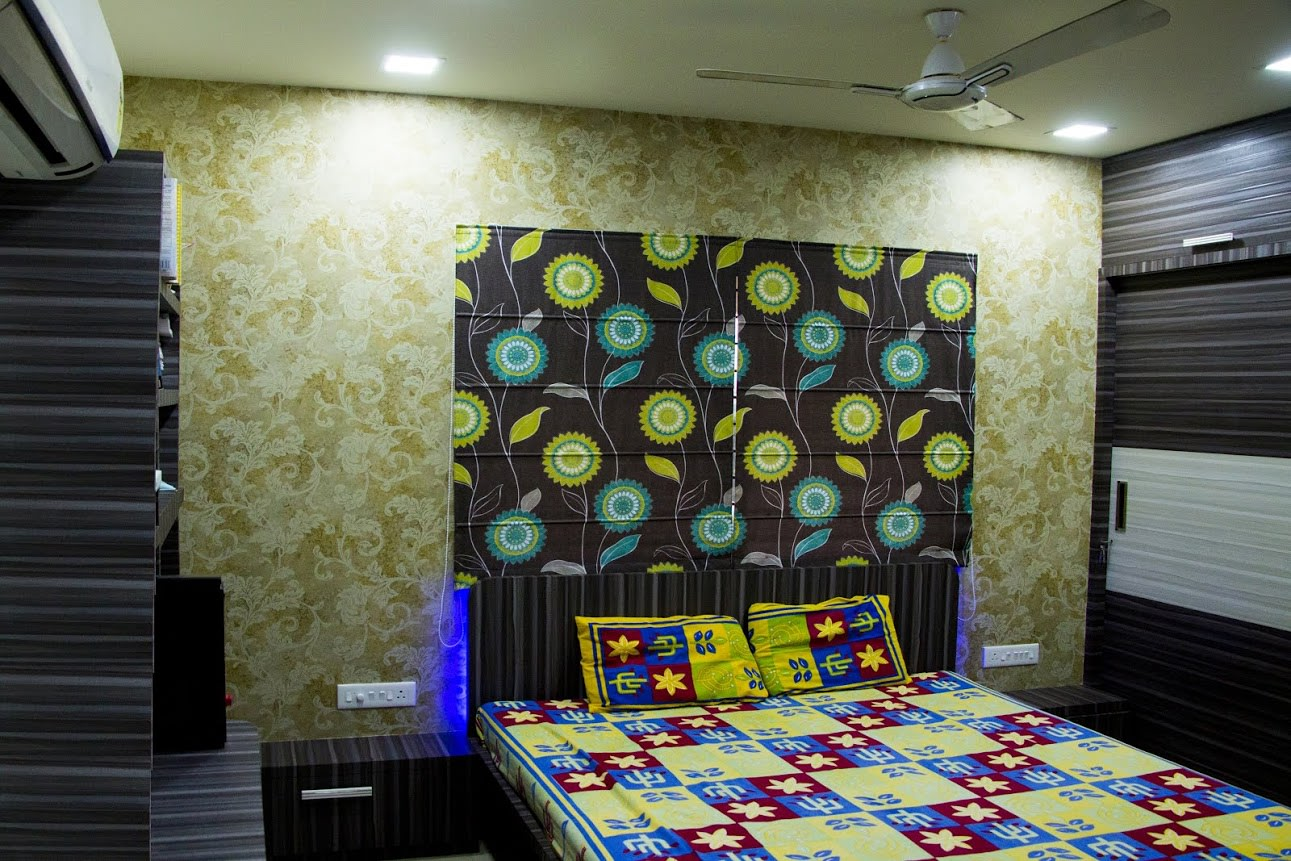 master bedroom with Floral Designed Wall and Queen Size Bed by Trupti Ladda Bedroom Contemporary | Interior Design Photos & Ideas