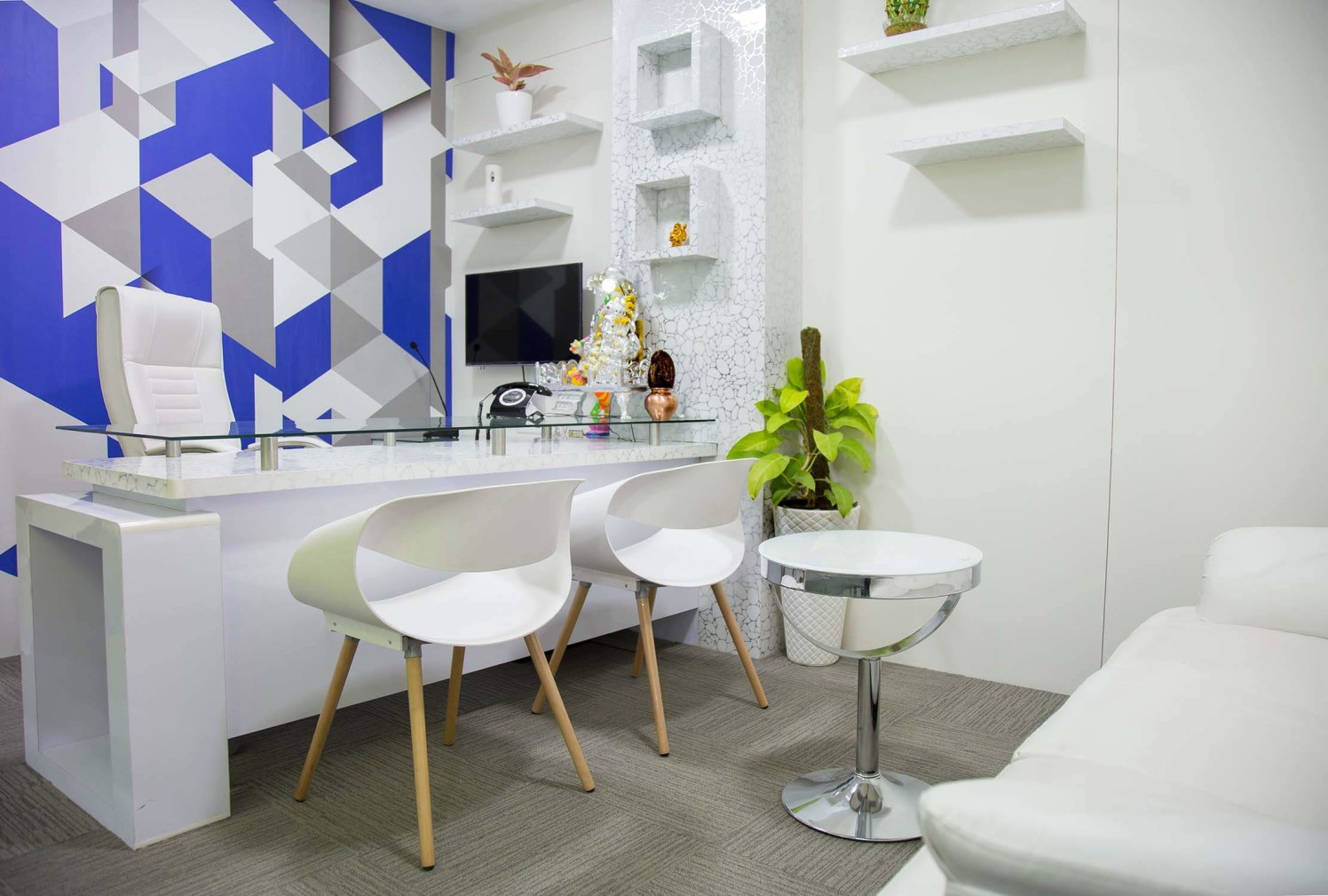 White Themed Office Space with Glass Top Desk and White Chairs by Trupti Ladda Contemporary | Interior Design Photos & Ideas