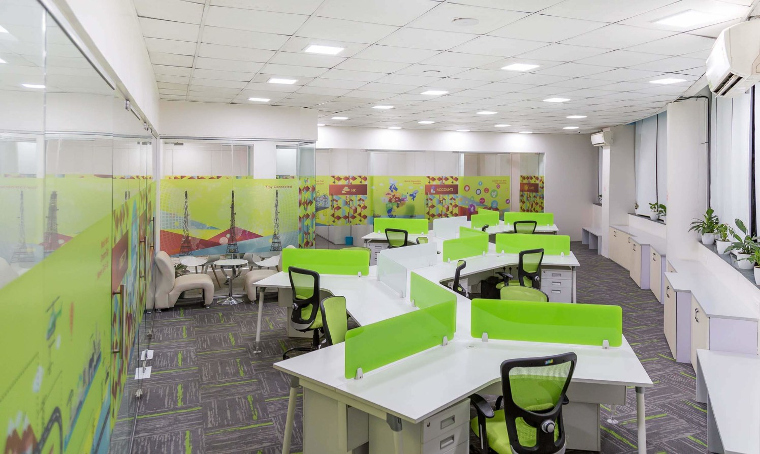 Green and White Themed Work Space with White Desks and green Chairs by Trupti Ladda Contemporary   Interior Design Photos & Ideas