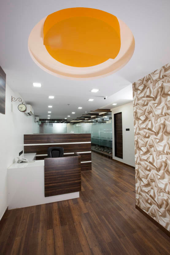 Basic Office Space with Walnut Brown Wooden Flooring and False Ceiling by Trupti Ladda Contemporary | Interior Design Photos & Ideas