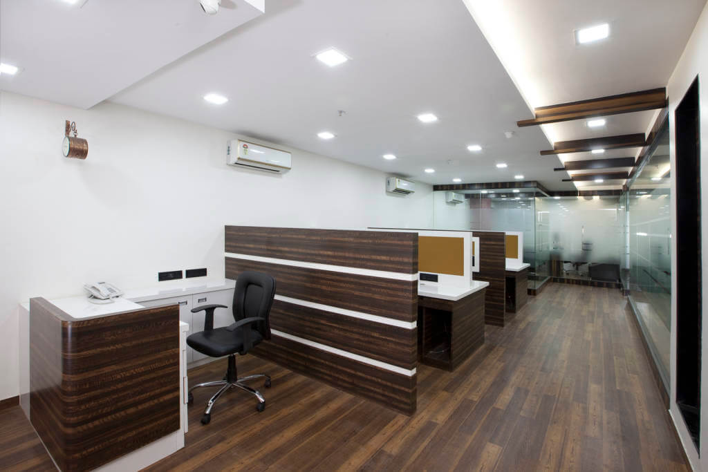 Office Space with Wood Flooring and Cellular Spaces by Trupti Ladda Contemporary | Interior Design Photos & Ideas