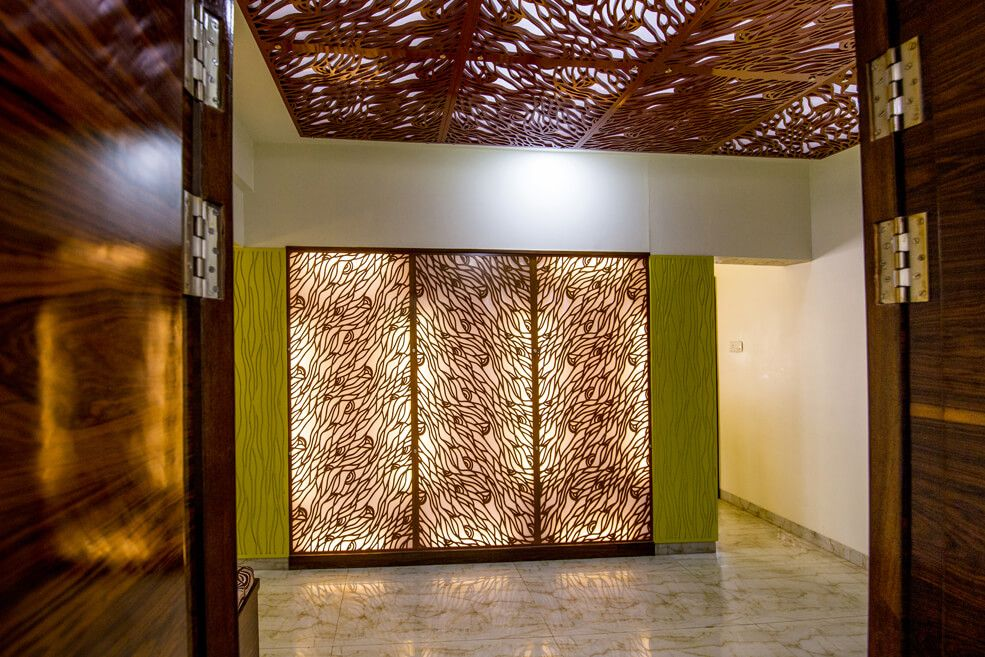 Wood Designed Wall and Ceiling with Back Light by Trupti Ladda Indoor-spaces Contemporary | Interior Design Photos & Ideas