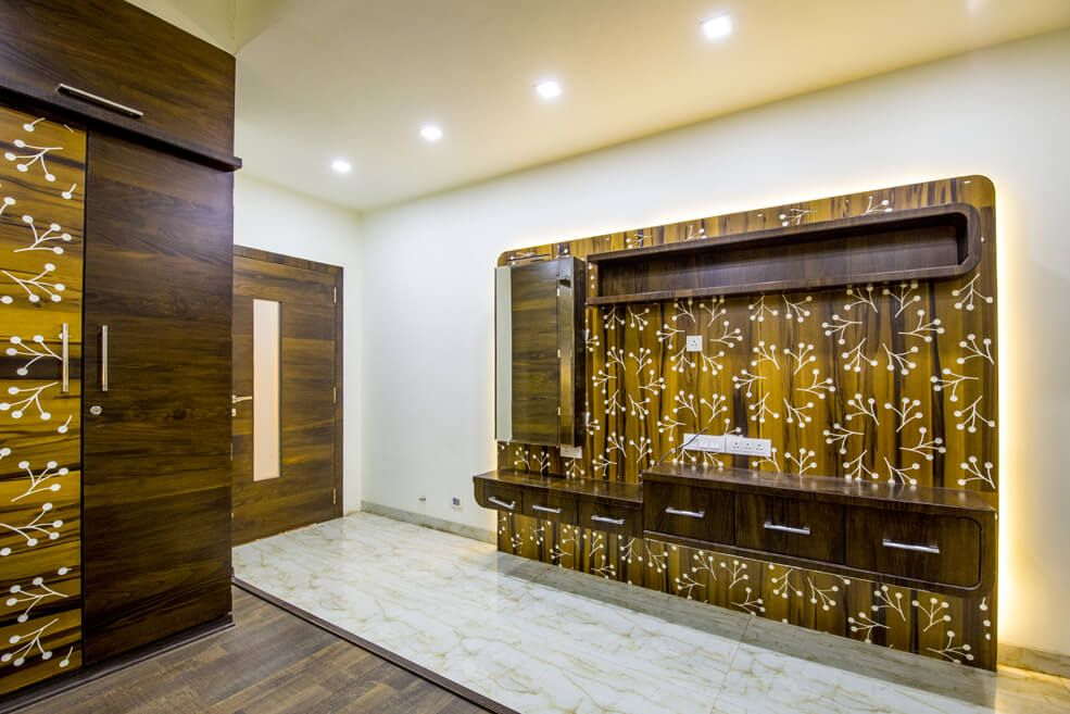 Wooden Designed Brown and Yellow Display Unit by Trupti Ladda Bedroom Contemporary | Interior Design Photos & Ideas