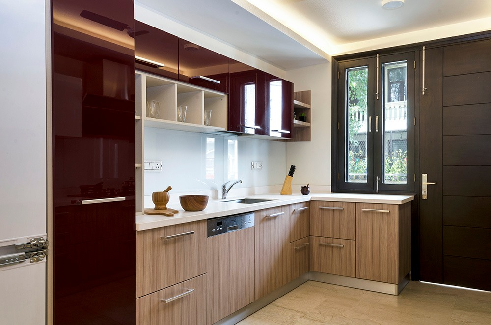 Brown L Shaped Kitchen And Maroon Cabinets by Mridul Jain Modular-kitchen Modern | Interior Design Photos & Ideas