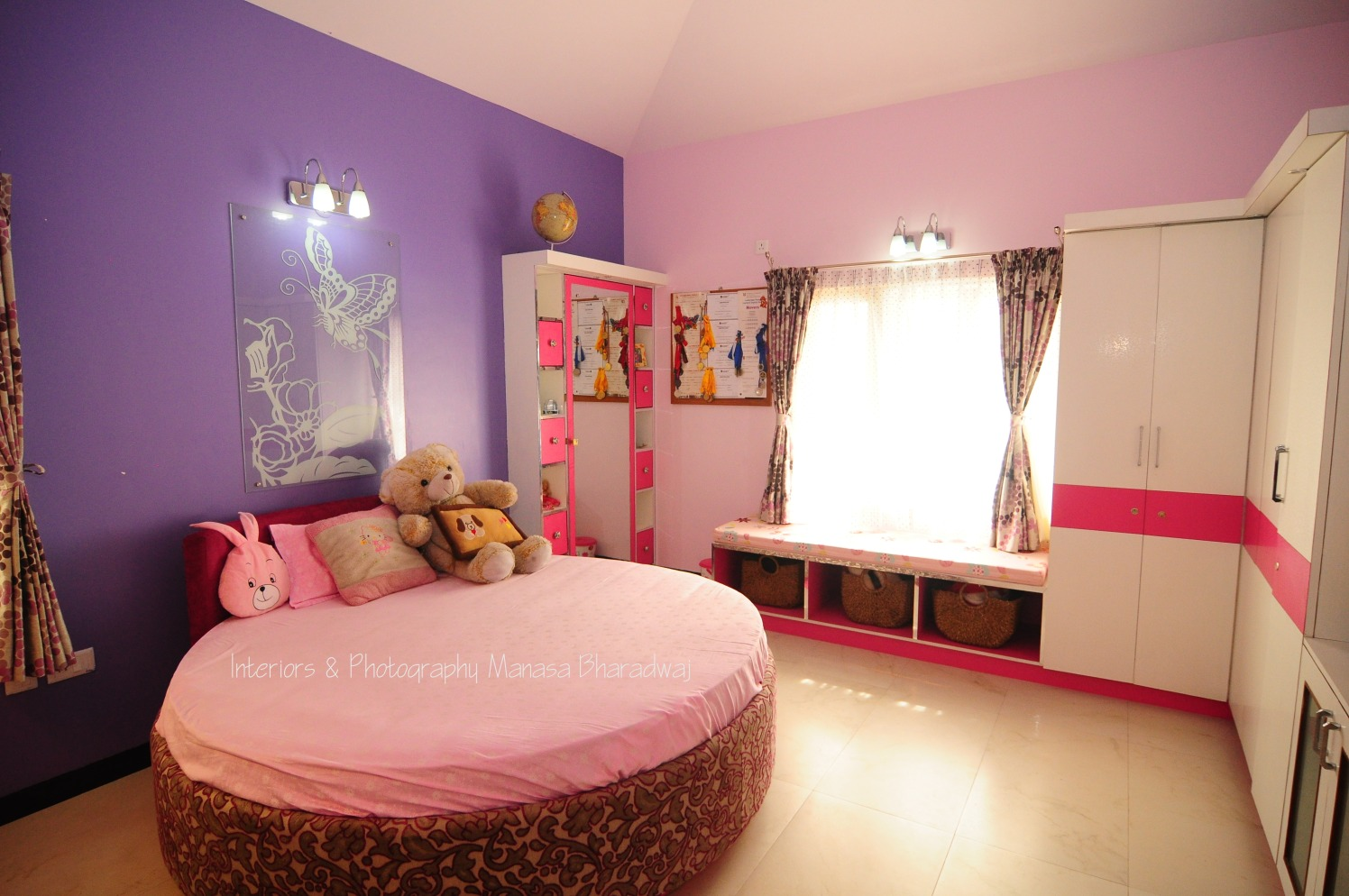 Pink Themed Kids bedroom with Circular Bed and Pink And White Closets by Manasa Bharadwaj Bedroom Modern | Interior Design Photos & Ideas