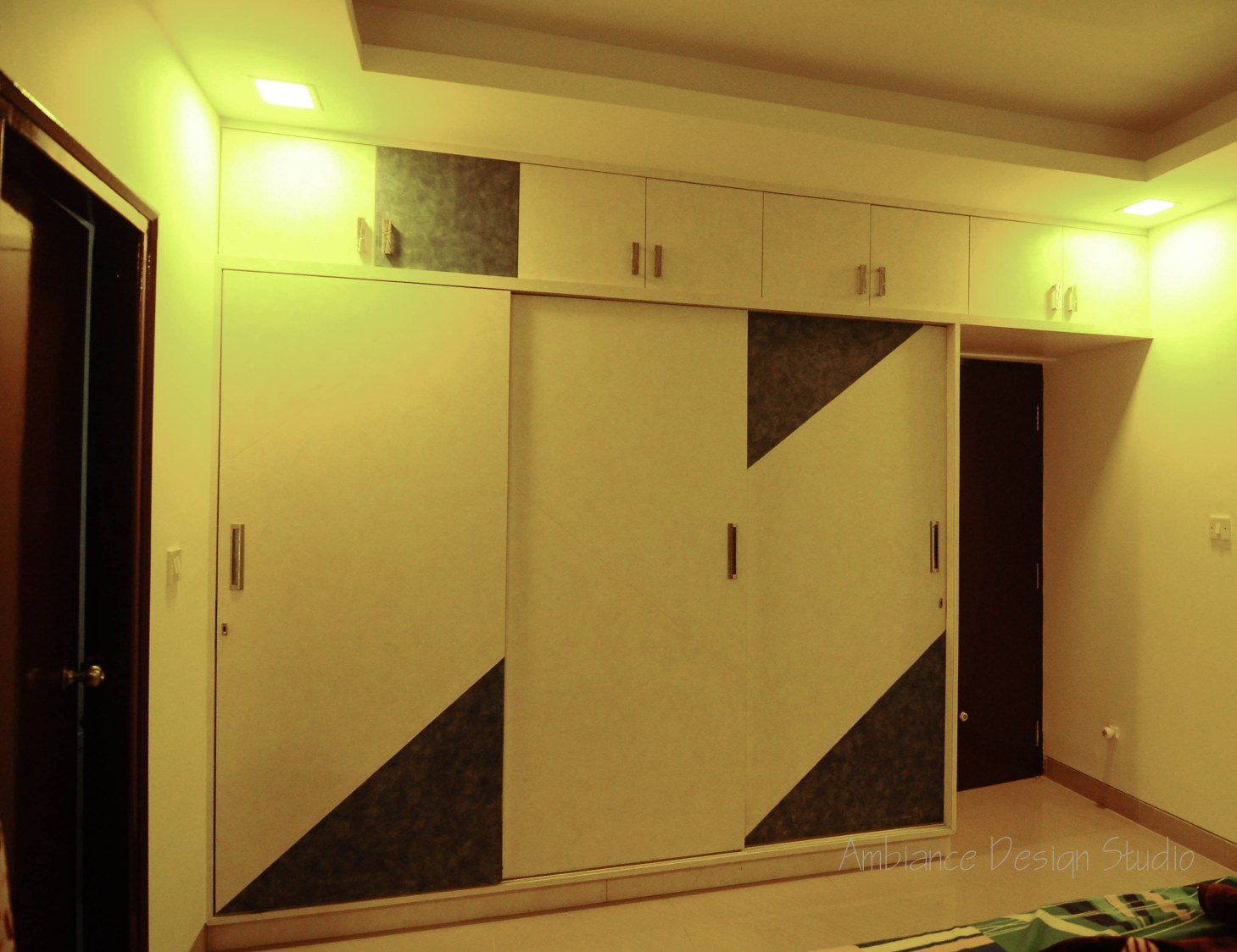 Sliding Wood Wardrobe with Edgy Designs by Manasa Bharadwaj Bedroom Modern | Interior Design Photos & Ideas