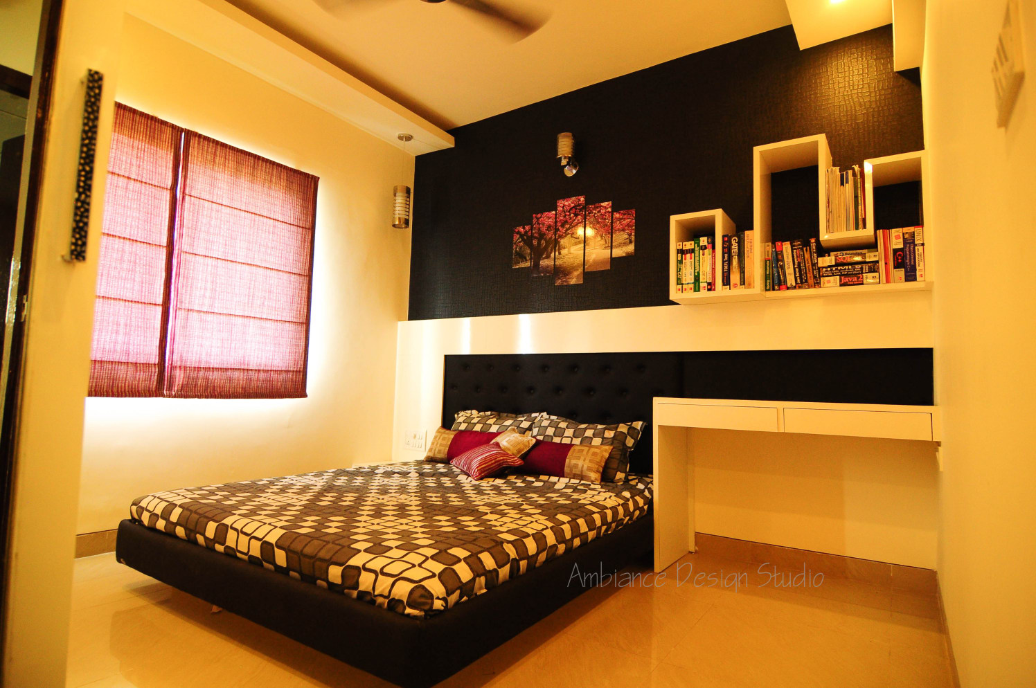 Master Bedroom with Low Top Bed and White Book Shelf by Manasa Bharadwaj Bedroom Modern   Interior Design Photos & Ideas