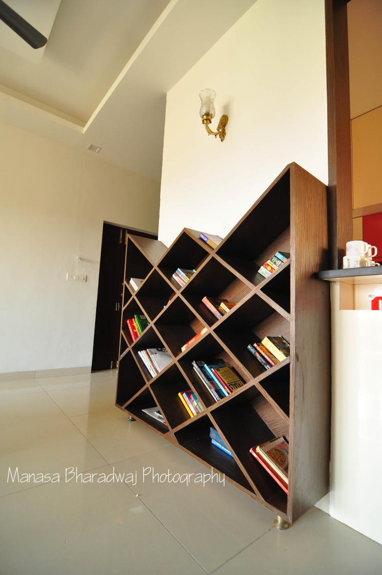 Brown Edgy Wooden Shelf by Manasa Bharadwaj Living-room Contemporary | Interior Design Photos & Ideas