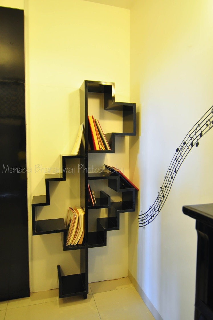 Black Wooden Shelf with Wall Art by Manasa Bharadwaj Living-room Modern | Interior Design Photos & Ideas