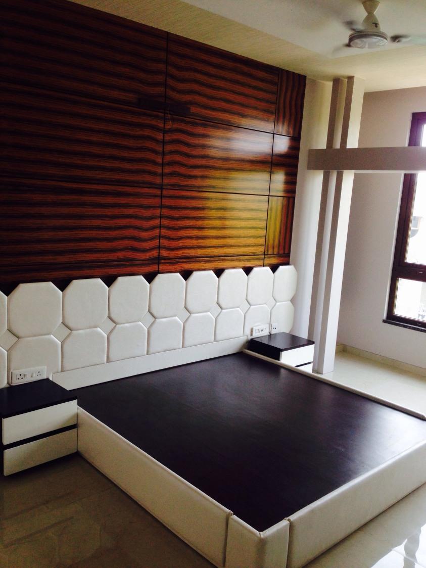 Checkered Bedboard by Parveen Adhana Bedroom Modern | Interior Design Photos & Ideas