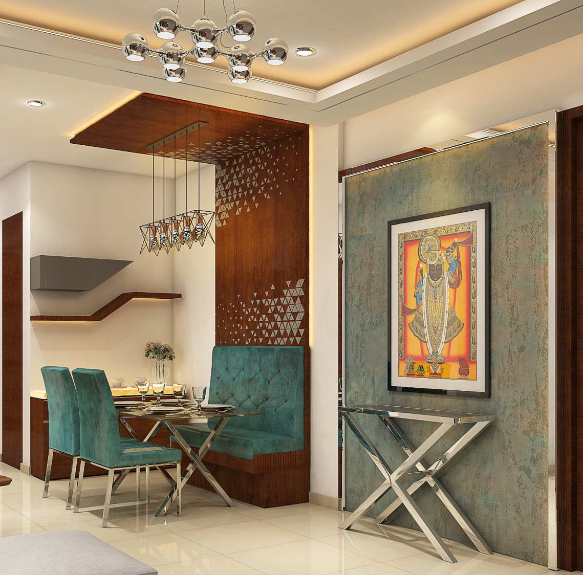 Dinning space with modern velvet furniture and wall decor by Nidhi Rathod Dining-room Contemporary | Interior Design Photos & Ideas