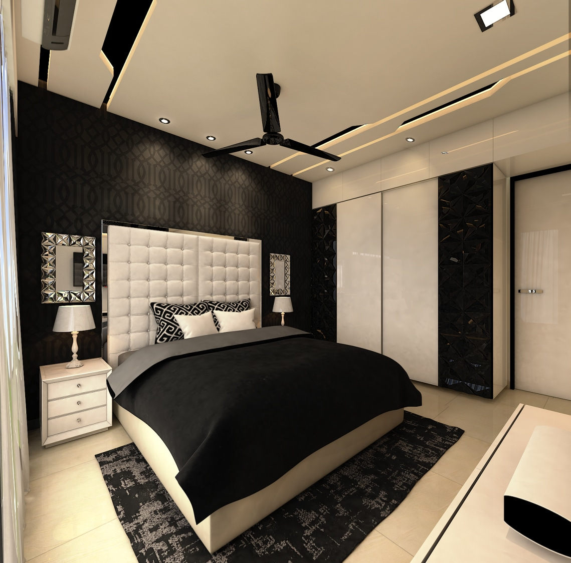 Bedroom With False Ceiling Wardrobe And Black & White