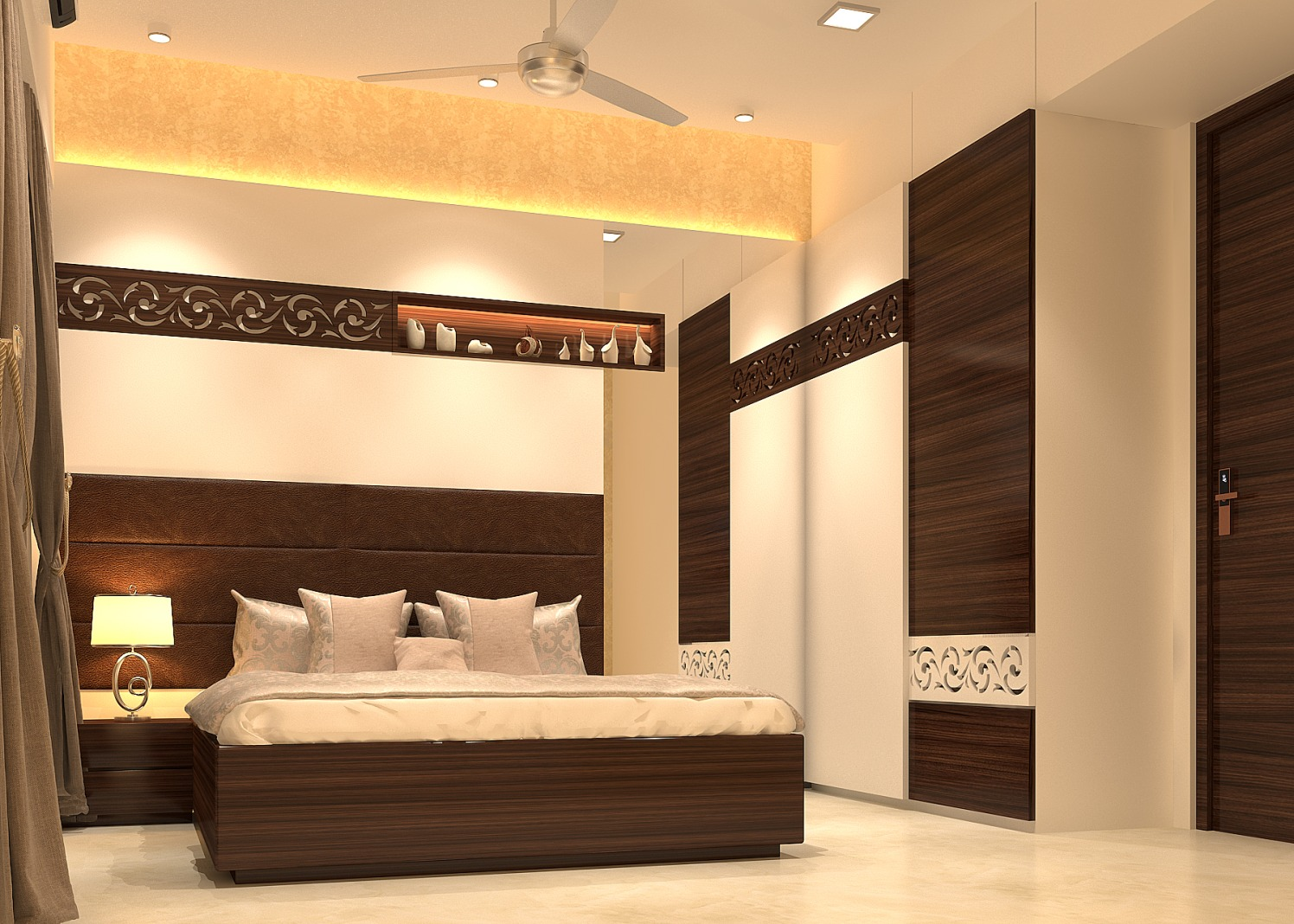 Bedroom with  false ceiling and wardrobe with abstract wall color by Nidhi Rathod Bedroom Contemporary | Interior Design Photos & Ideas