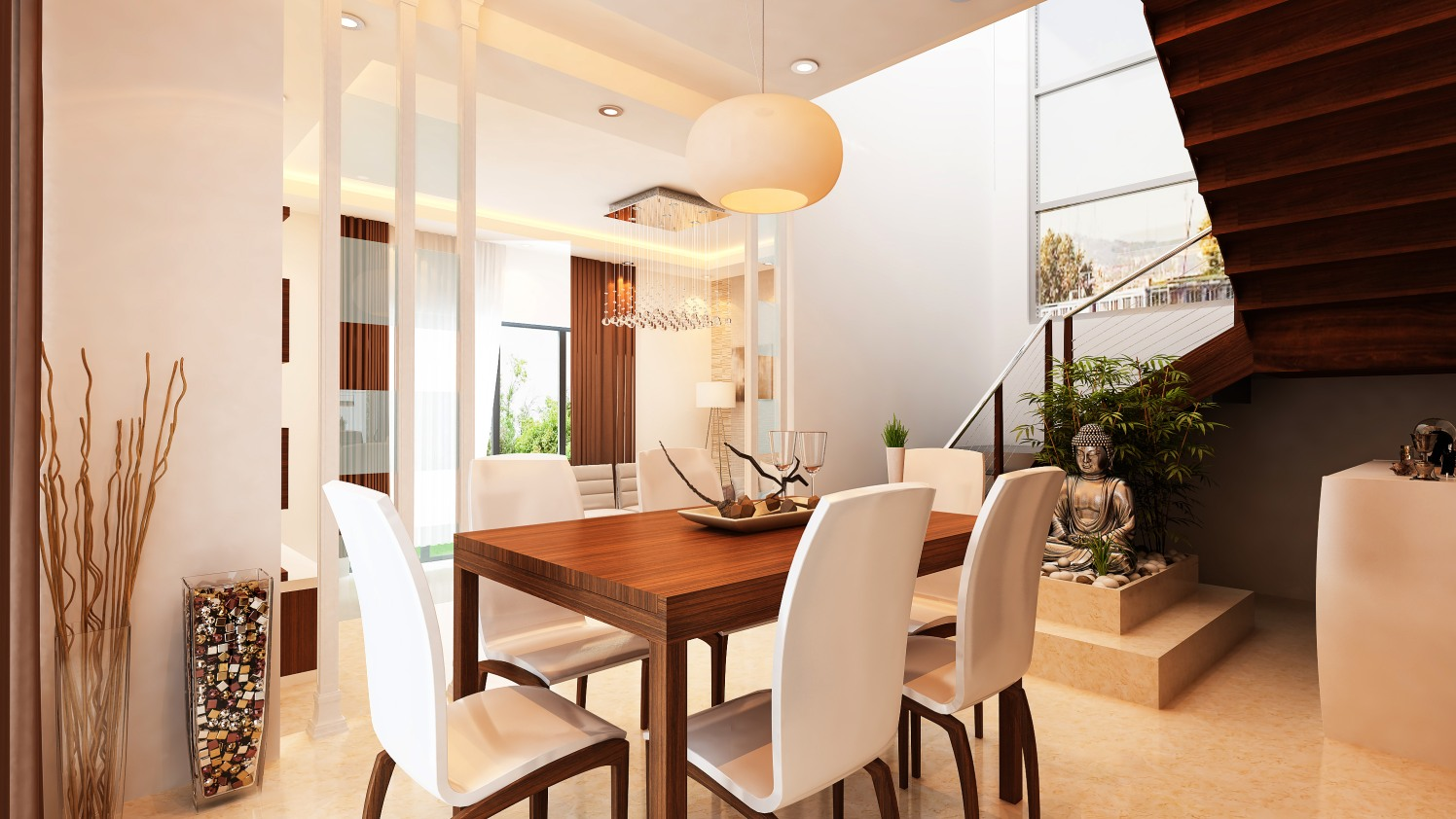 Dining Hall with wooden table and white chairs by Ram PJ Dining-room Contemporary | Interior Design Photos & Ideas