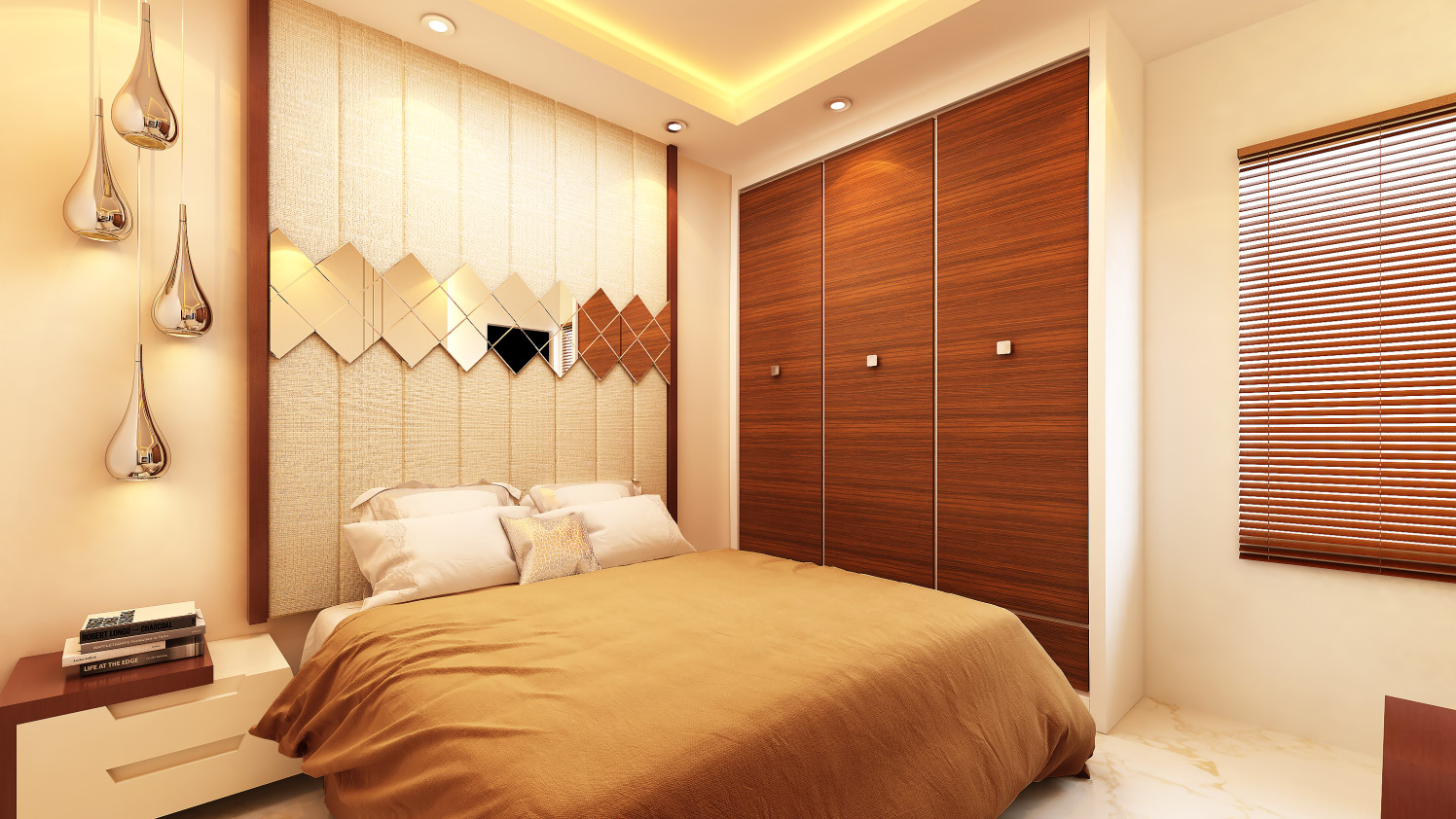 Bedroom with wardrobe false ceiling and wall decor by Ram PJ Bedroom Modern | Interior Design Photos & Ideas