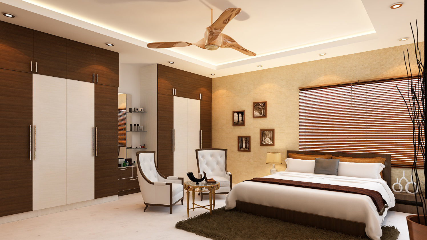 Bedroom with wardrobe lounge chair and false ceiling by Ram PJ Bedroom Modern | Interior Design Photos & Ideas