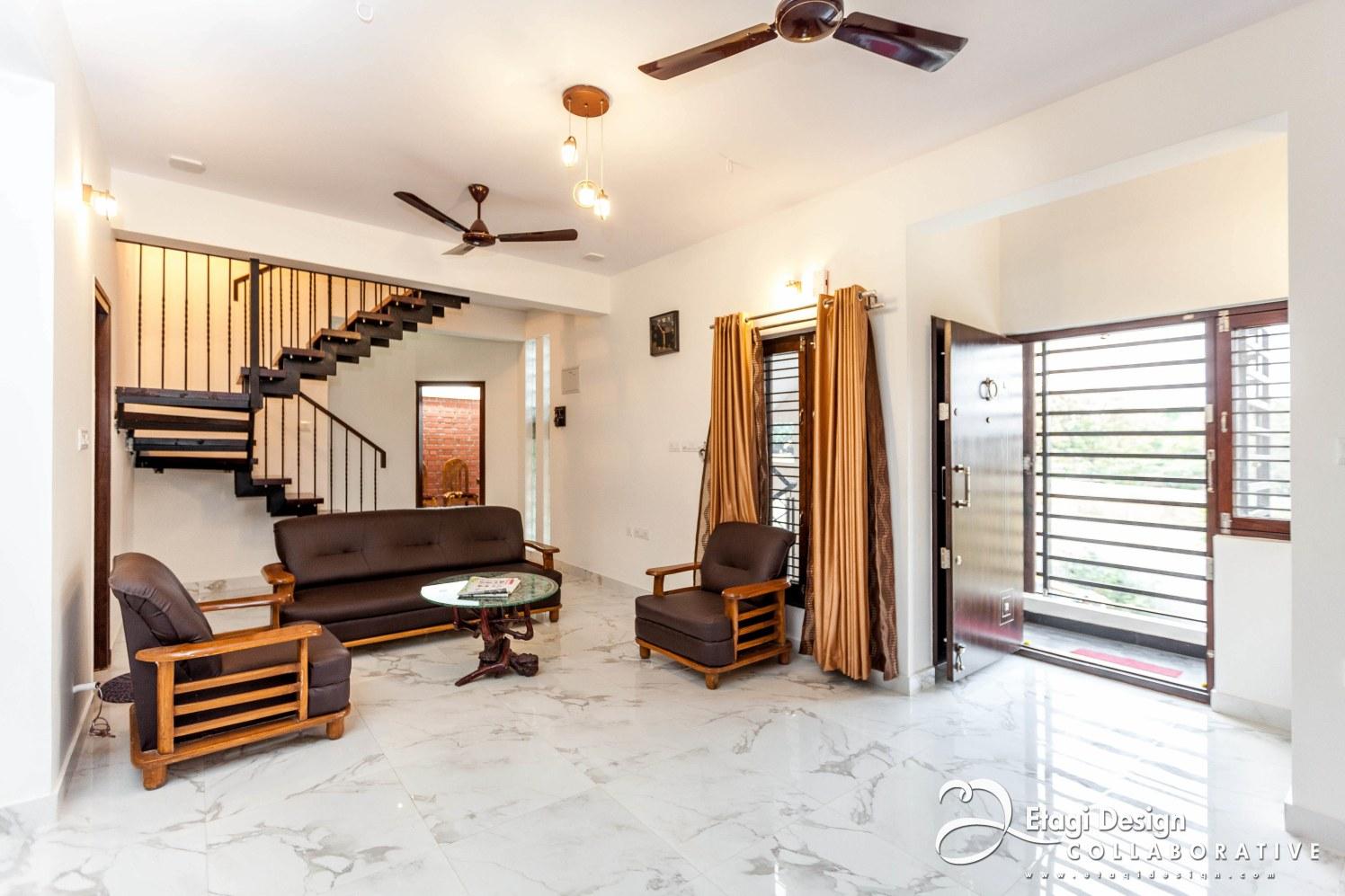 White Marble Flooring In Living Room by Prashanth Nandiprasad Living-room Contemporary Contemporary   Interior Design Photos & Ideas