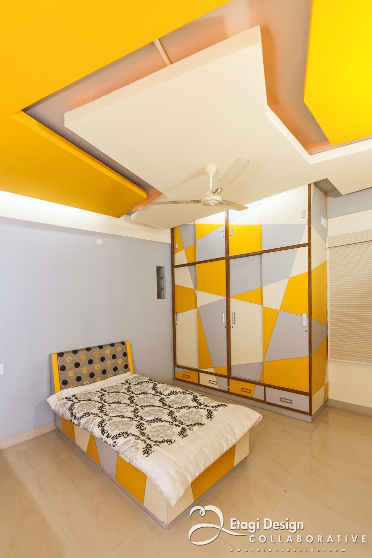 Bedroom With Yellow Shade Decor by Prashanth Nandiprasad Bedroom Modern | Interior Design Photos & Ideas