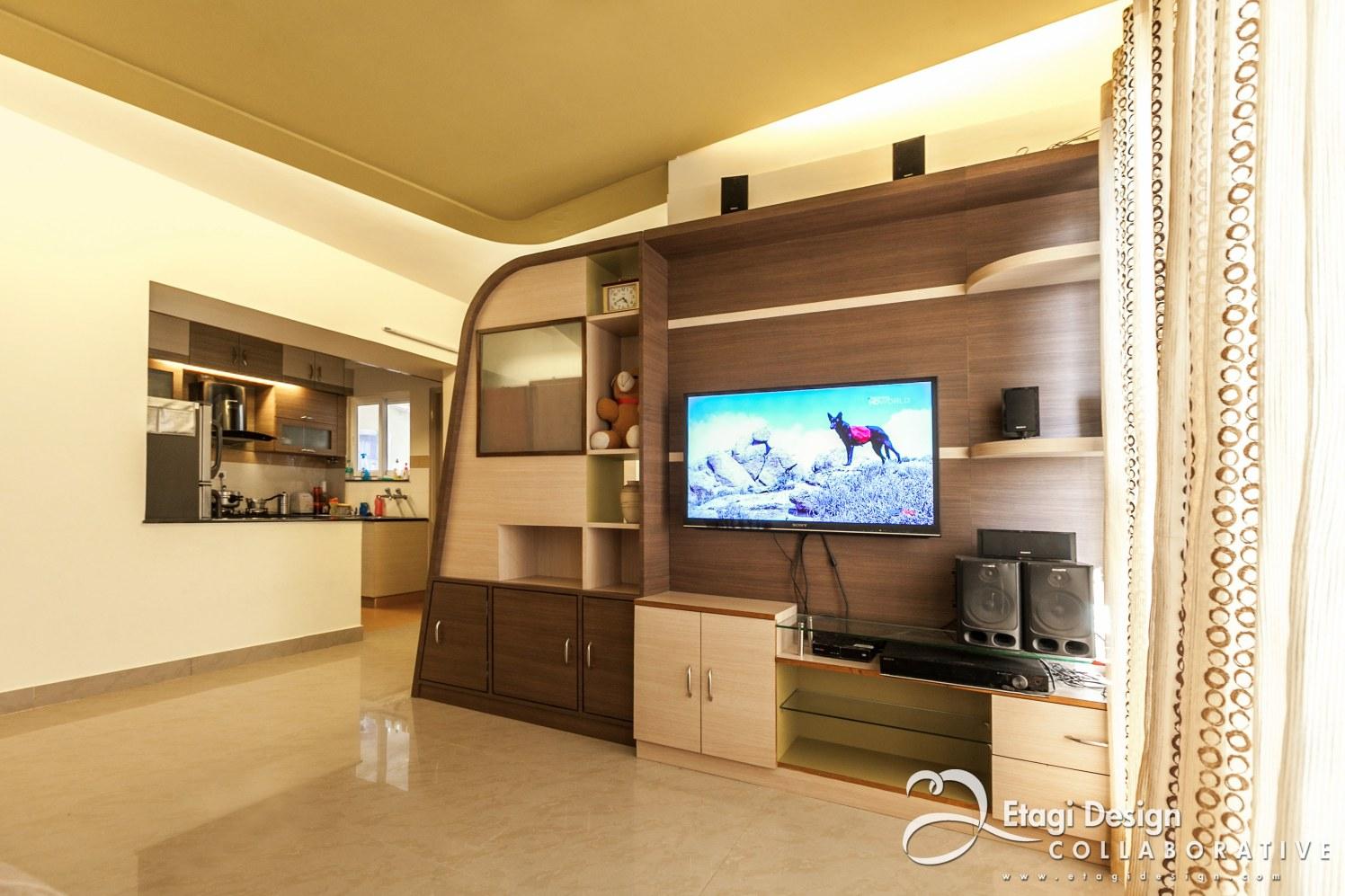 Living Room With Wooden TV Unit by Prashanth Nandiprasad Living-room Modern   Interior Design Photos & Ideas