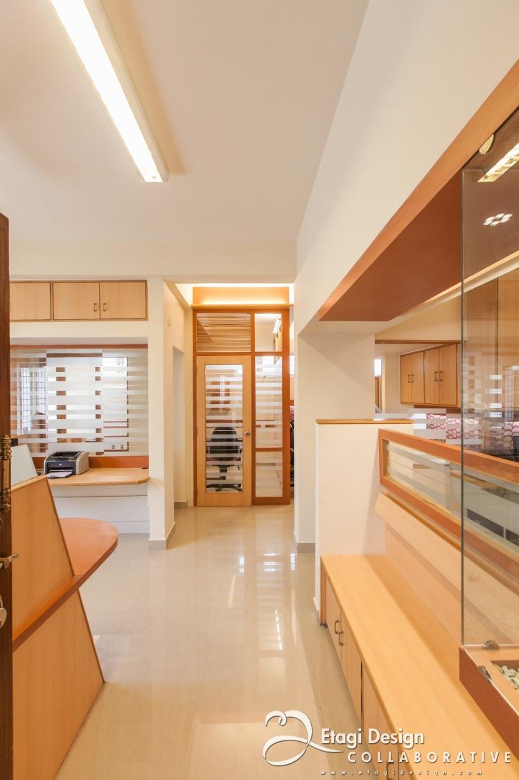 Office With Wooden Work by Prashanth Nandiprasad Modern | Interior Design Photos & Ideas
