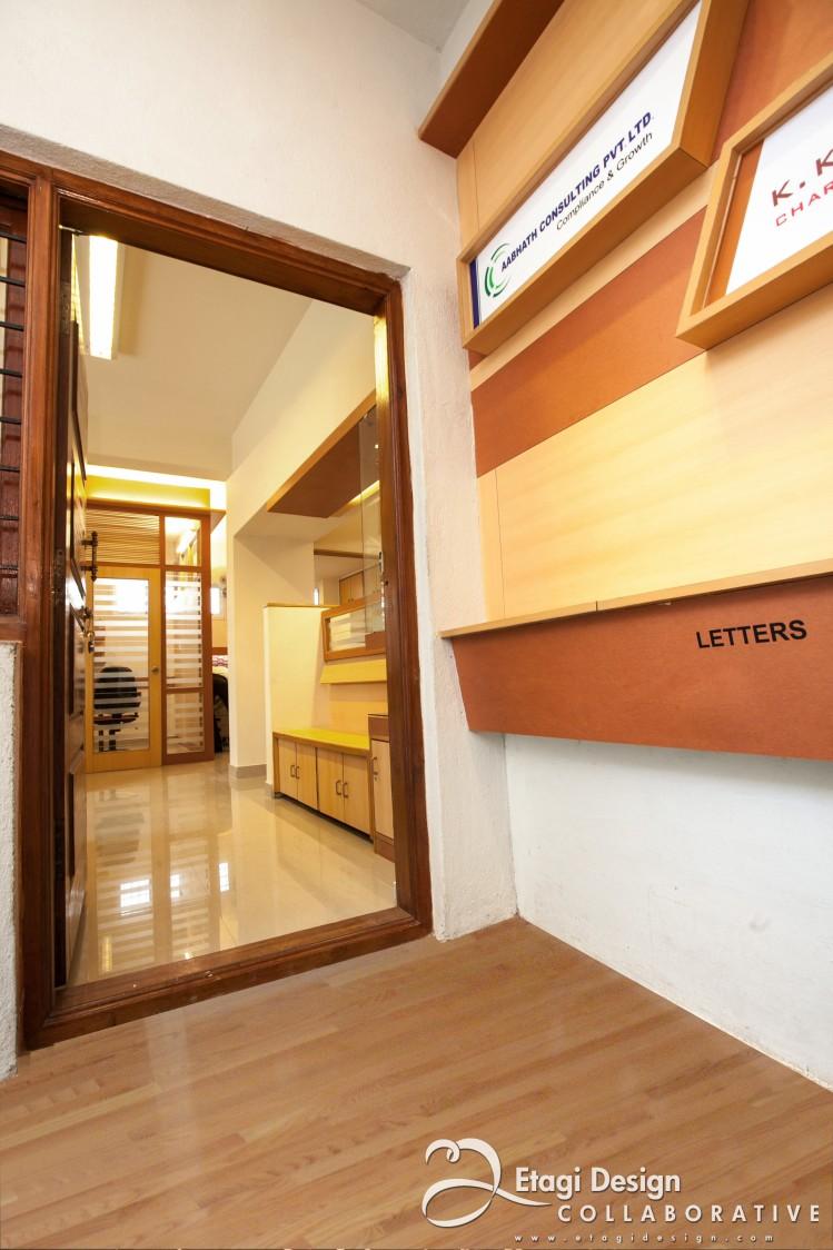Office Hallway With Wooden Interior by Prashanth Nandiprasad Modern | Interior Design Photos & Ideas