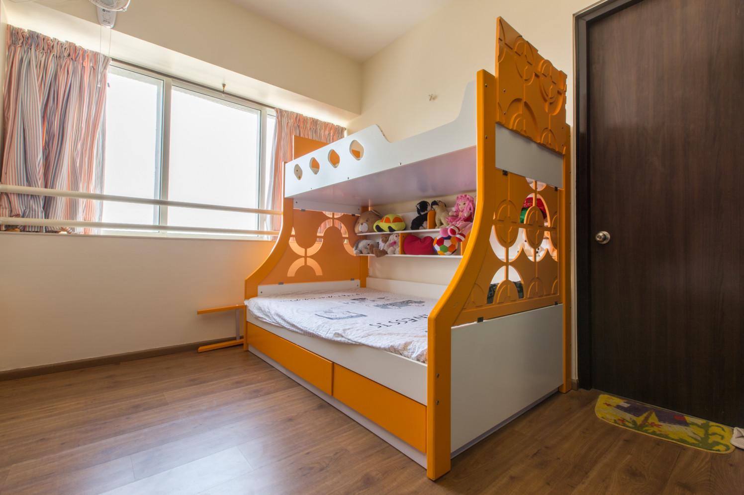 Wooden floor Kids Bedroom with window by MakeMyCasa Bedroom Modern | Interior Design Photos & Ideas